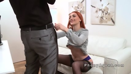 Fire redhead in stockings bangs agent