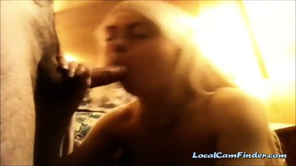 Blonde hottie gets fucked after blowjob