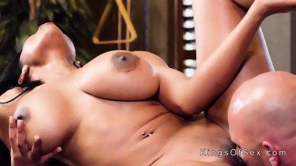 Huge boobs ebony bangs in pool hall