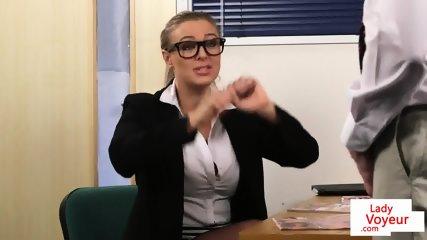 Dominant office babe instructing sub guy