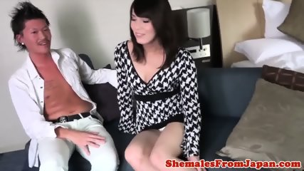 Classy ladyboy cocksucking before anal fucked