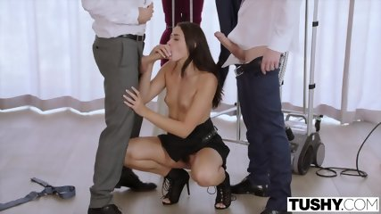TUSHY Assistant Gets DP D By Boss And Friend - scene 4