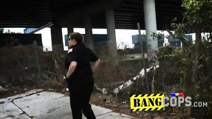 Ebony stallion pumping a police MILF trio