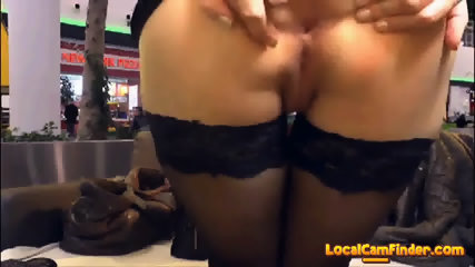 Shameless slut lewd masturbation at a crowded mall