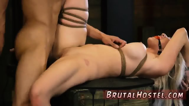 Bondage escape challenge and couple dominates man Big-breasted platinum-blonde beauty