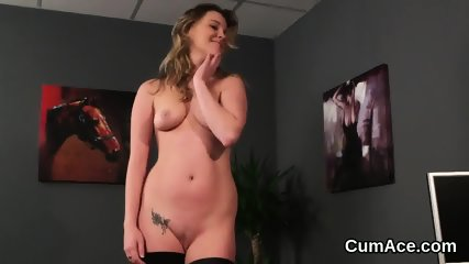 Wicked model gets cum load on her face eating all the spunk