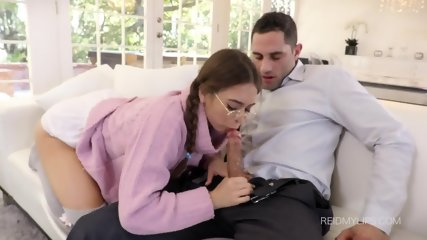 Teen With Glasses Gets Rammed Hard In Ass - scene 4