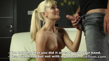 Kissable girl spreads tight muff and gets deflorated