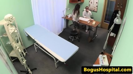 Slutty patient squirted with doctors cum