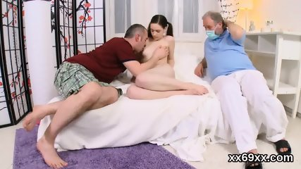 Guy assists with hymen check-up and shagging of virgin nympho