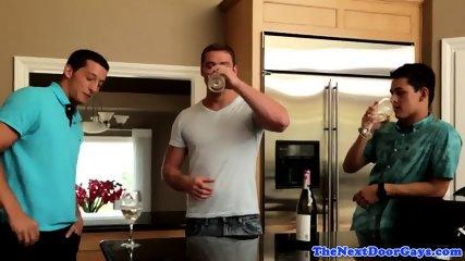 Threeway fucked cocksucker gets cum on ass