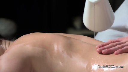 Fat ass babe gets fucked after massage