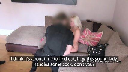 Huge tits Milf sucks two dicks at casting