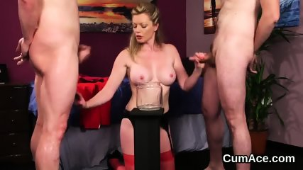 Horny centerfold gets cumshot on her face swallowing all the love juice