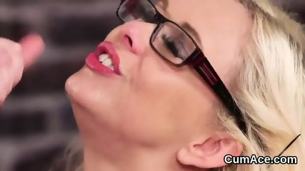 Unusual centerfold gets cum load on her face swallowing all the sperm