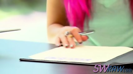 Pink haired swinger slut imagining the biggest rod