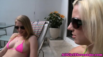 Lesbo babe strapon fucked in ass outdoors