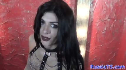 Russian tgirl tugs after teasing in lingerie