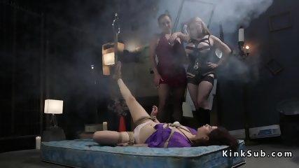 Brunette wakes up bound in lezdom threesome