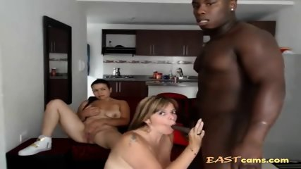 White bitches with big titties share a chocolate dick