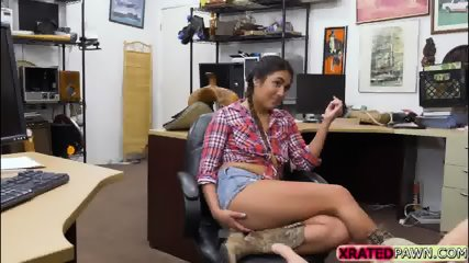 Busty Texas babe sucks and fucks pawm managers white cock