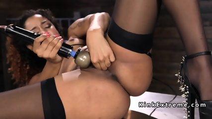 Ebony in stockings fucking machine