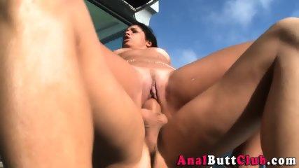 Latina anally rides cock