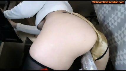 girl rides a wild black creamy dildo - scene 11