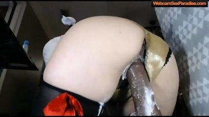 girl rides a wild black creamy dildo - scene 4
