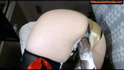 girl rides a wild black creamy dildo - scene 7