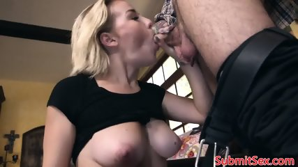 Schoolgirl bdsm sub sucks cock before trio