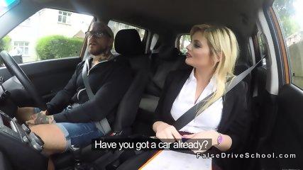 Busty blonde driving examiner banging