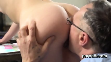 Lovesome bookworm is seduced and pounded by her aged mentor