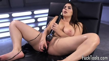 Busty Babe Fucked By Dildo Machine Close Up - scene 3