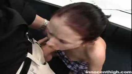 Nerdy Hailey sucks her profs cock like a pro - scene 3