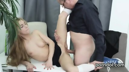 Sultry college girl gets seduced and nailed by her elder teacher