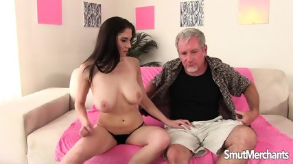 Busty Babe Satisfies Older Guy - scene 1