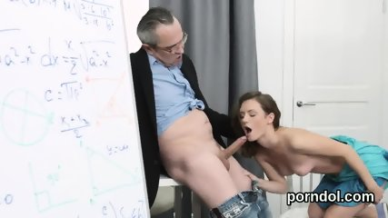 Sultry schoolgirl was tempted and fucked by her senior teacher
