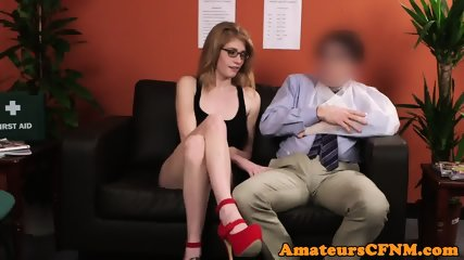 Young CFNM fetish babe teases older guy