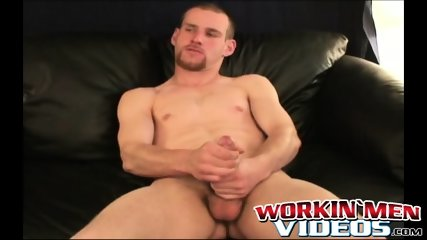 Solo amateur working on his huge cock until it squirts jizz