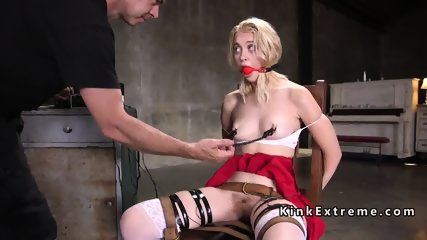 Gagged blonde gets nipples clamped then fucked