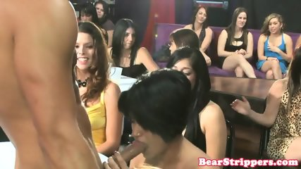 Busty CFNM debutantes stroke strippers cock