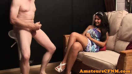 CFNM babe commands sub guy to strip naked