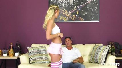 Blonde Girl Fucked Nicely On Sofa - scene 2
