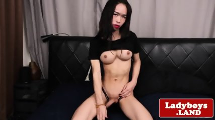 Solo ladyboy tugging her big hard cock