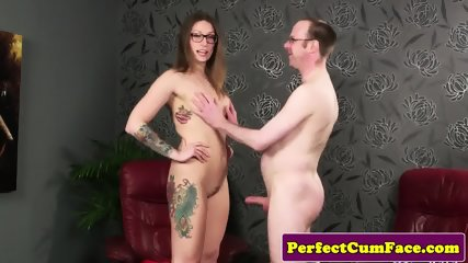 Tattooed british babe cocksucks before facial