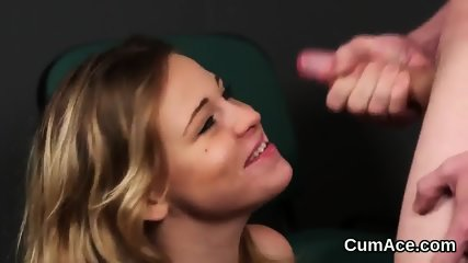 Hot peach gets cum load on her face swallowing all the cream
