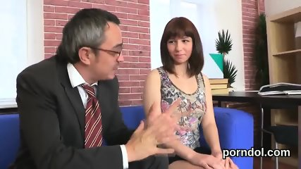 Innocent college girl is tempted and rode by her senior schoolteacher
