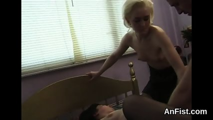 Horny lesbian honeys are stretching and fisting anals