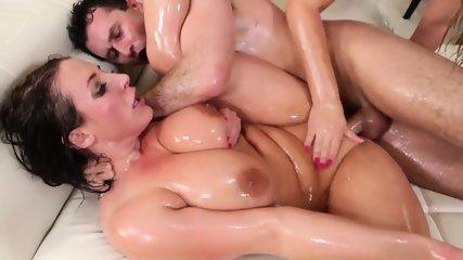 Oiled Girls Share Cock - scene 11